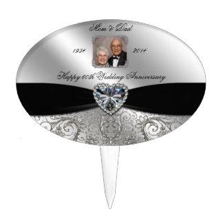 60th Wedding Anniversary Photo Cake Topper