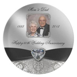 60th Wedding Anniversary Photo Melamine Plate