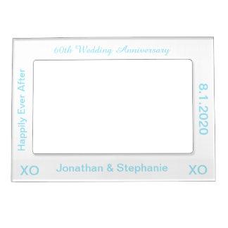 60th Wedding Anniversary White Blue Photo Frame Magnetic Photo Frame