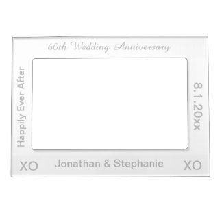 60th Wedding Anniversary White Silver Photo Frame Magnetic Photo Frame