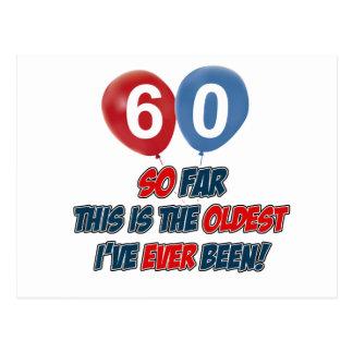 60th year old birthday gift postcard