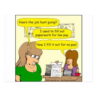 615 job applications cartoon postcard