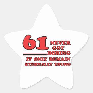 61 year old birthday designs star sticker
