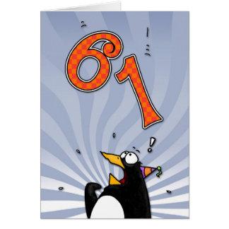 61st Birthday - Penguin Surprise Card