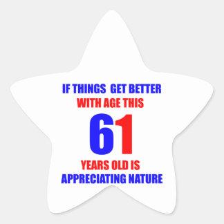 61th Birthday Design Star Sticker