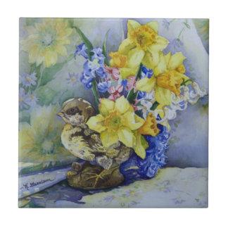 6296 Daffodils in Bird Planter Ceramic Tile