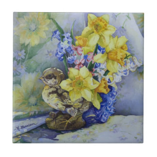 6296 Daffodils in Bird Planter Small Square Tile