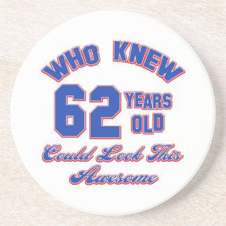 62 years Old birthday designs Beverage Coasters