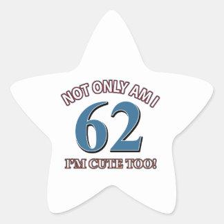 62 years Old birthday designs Star Sticker