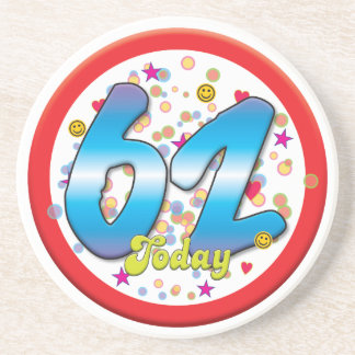 62nd Birthday Today Beverage Coasters