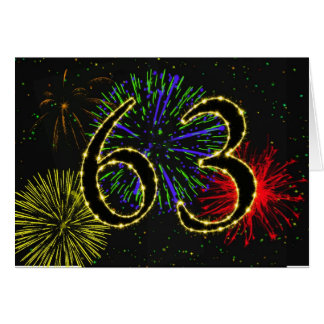 63rd Birthday card with fireworks