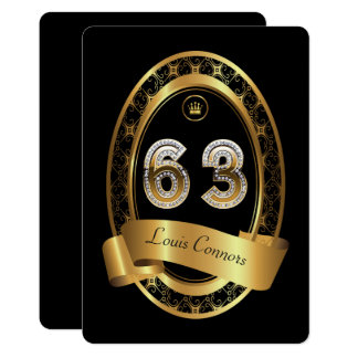 63rd,birthday party woman man,elegant color card