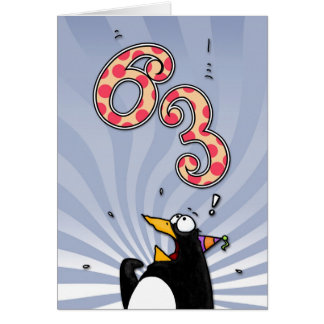 63rd Birthday - Penguin Surprise Card