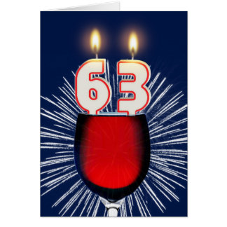 63rd Birthday with wine and candles Card