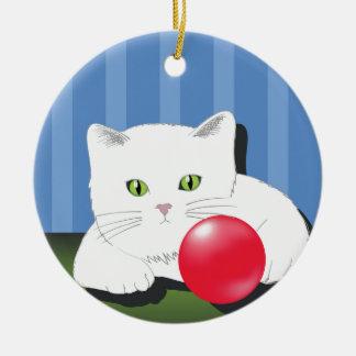 63White Cat_rasterized Ceramic Ornament