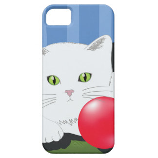 63White Cat_rasterized iPhone 5 Case