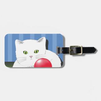 63White Cat_rasterized Luggage Tag