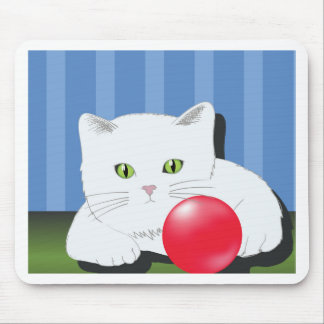 63White Cat_rasterized Mouse Pad