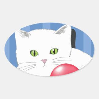 63White Cat_rasterized Oval Sticker