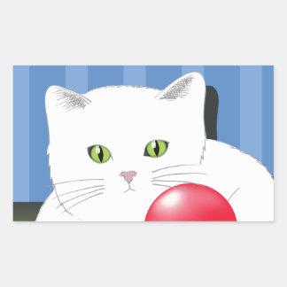 63White Cat_rasterized Rectangular Sticker