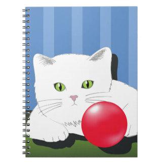 63White Cat_rasterized Spiral Notebook