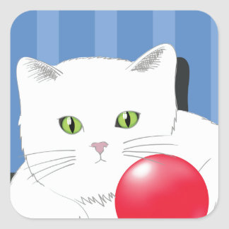 63White Cat_rasterized Square Sticker