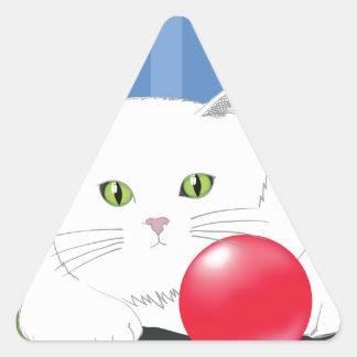 63White Cat_rasterized Triangle Sticker