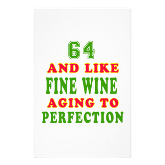 64 and like fine wine birthday designs customized stationery