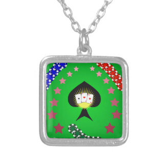 64Casino Logo_rasterized Silver Plated Necklace