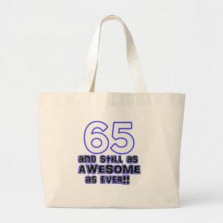 65 birthday design large tote bag
