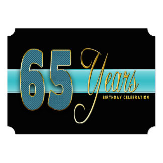 "65 YEARS BIRTHDAY PARTY INVITATION AQUA/BLACK 5"" X 7"" INVITATION CARD"