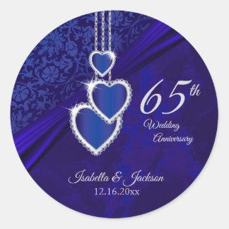 65th / 45th Sapphire Wedding Anniversary Design Classic Round Sticker