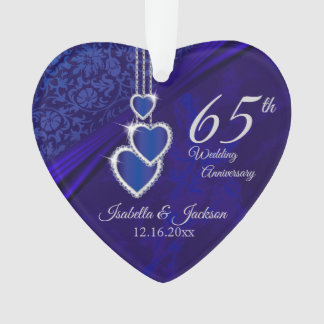 65th / 45th Sapphire Wedding Anniversary Keepsake Ornament