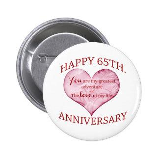 65th. Anniversary 6 Cm Round Badge