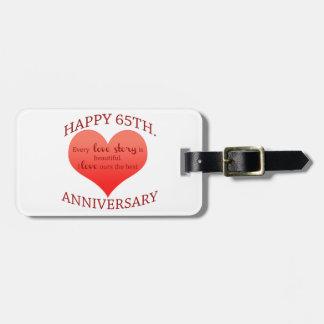 65th. Anniversary Luggage Tag