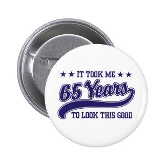 65th Birthday 6 Cm Round Badge