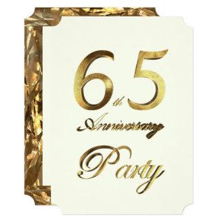 65th Birthday Anniversary Gold Ivory Elegant Card