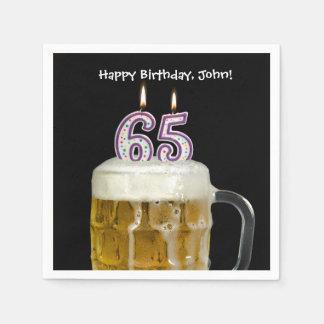 65th birthday beer disposable serviette