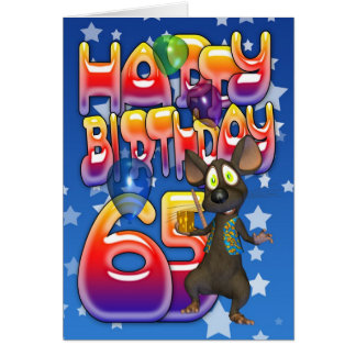 65th Birthday Card cute with little mouse