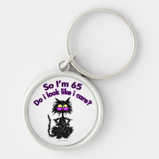 65th Birthday Cat Silver-Colored Round Key Ring