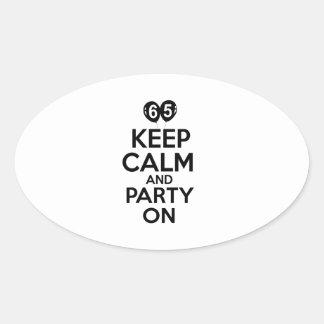 65th birthday designs oval sticker