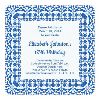 65th Birthday Elegant Blue and White Party Invites