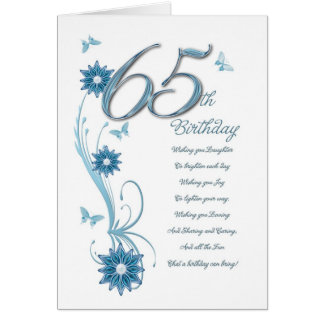 65th birthday in teal with flowers and butterfly card