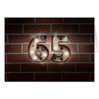 65th birthday-marquee lights on brick wall card