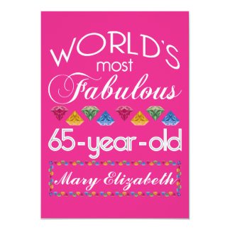 """65th Birthday Most Fabulous Colorful Gems Pink 5"""" X 7"""" Invitation Card"""