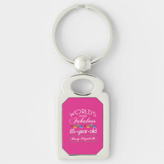 65th Birthday Most Fabulous Colorful Gems Pink Silver-Colored Rectangle Key Ring