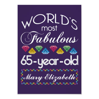 65th Birthday Most Fabulous Colorful Gems Purple 13 Cm X 18 Cm Invitation Card