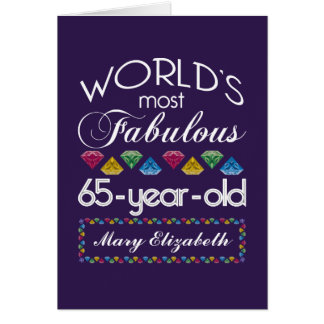 65th Birthday Most Fabulous Colorful Gems Purple Card