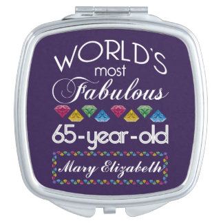 65th Birthday Most Fabulous Colorful Gems Purple Travel Mirrors