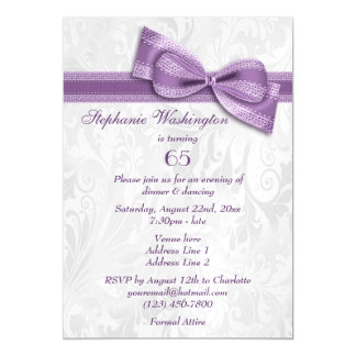 65th Birthday Party Damask and Faux Bow Magnetic Invitations